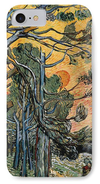 Pine Trees At Sunset IPhone Case by Vincent van Gogh