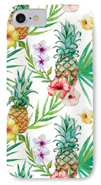 Pineapple And Tropical Flowers IPhone 7 Case