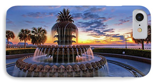 The Pineapple Fountain At Sunrise In Charleston, South Carolina, Usa IPhone Case by Sam Antonio Photography