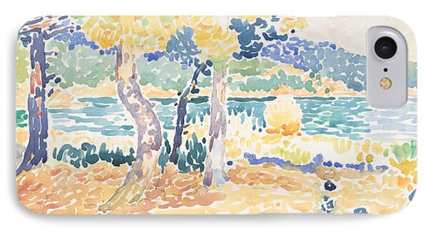 Pines On The Coastline IPhone Case by Henri-Edmond Cross