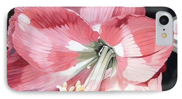 IPhone Case featuring the painting Pink Amaryllis by Laurie Rohner