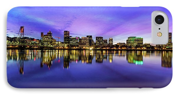 Pink And Blue Hue Evening Sky Over Portland Oregon Phone Case by David Gn