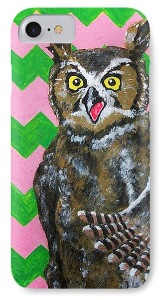 Pink And Green Chevron Owl IPhone Case by Mike Kraus