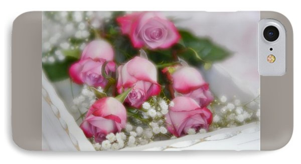 IPhone Case featuring the photograph Pink And White Roses In White Box 2 by Diane Alexander