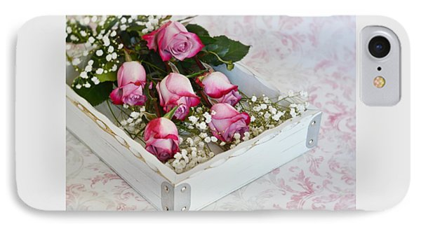 IPhone Case featuring the photograph Pink And White Roses In White Box by Diane Alexander