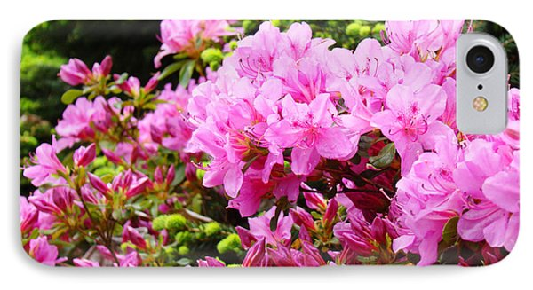 Pink Azalea Flowers Landscape 11 Art Prints Canvas Artwork Framed Art Cards Phone Case by Baslee Troutman