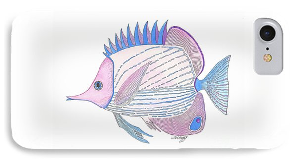 Pink Blue Fish IPhone Case by Stephanie Troxell