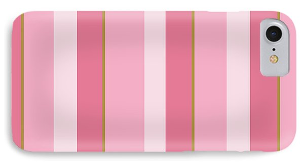 IPhone Case featuring the mixed media Pink Blush Stripe Pattern by Christina Rollo