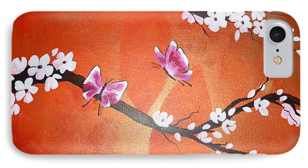 Pink Butterflies And Cherry Blossom IPhone Case