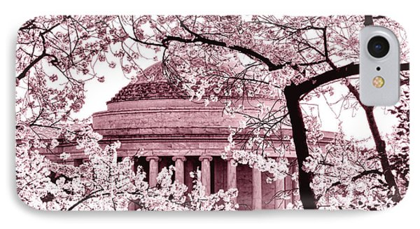 Pink Cherry Trees At The Jefferson Memorial IPhone 7 Case by Olivier Le Queinec