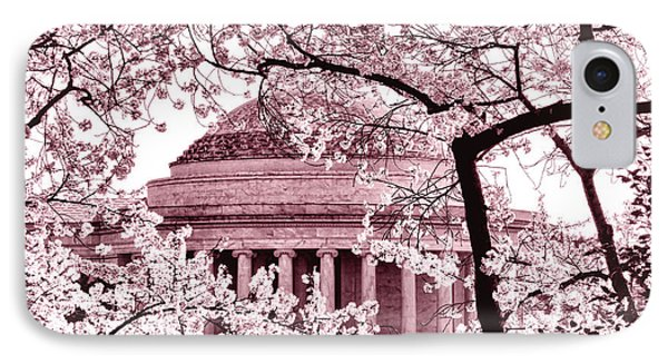 Pink Cherry Trees At The Jefferson Memorial IPhone Case by Olivier Le Queinec