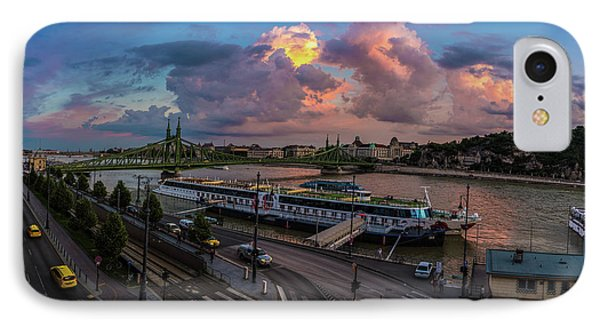 Pink Clouds Above The Danube, Budapest IPhone Case