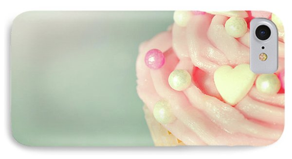 IPhone Case featuring the photograph Pink Cupcake With Lovehearts by Lyn Randle