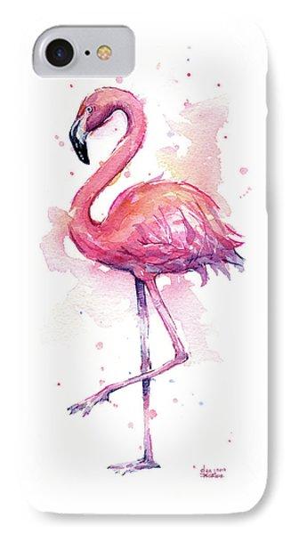 Pink Flamingo Watercolor Tropical Bird IPhone Case by Olga Shvartsur