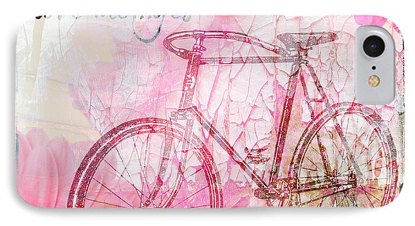 Pink Flower Bicycle IPhone Case by WALL ART and HOME DECOR