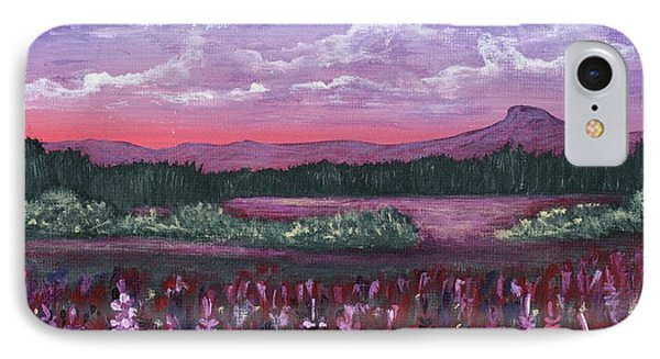 IPhone Case featuring the painting Pink Flower Field by Anastasiya Malakhova