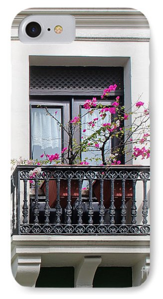 Pink Flowers On Balcony IPhone Case