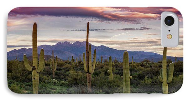 IPhone Case featuring the photograph Pink Four Peaks Sunset  by Saija Lehtonen