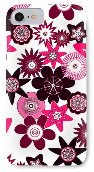 Pink Funky Flowers IPhone Case by Methune Hively
