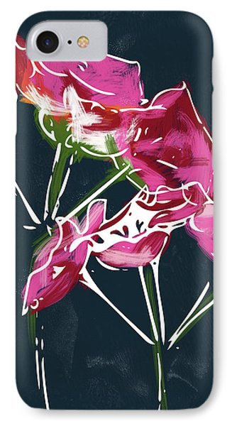 Pink Geraniums- Art By Linda Woods IPhone Case by Linda Woods
