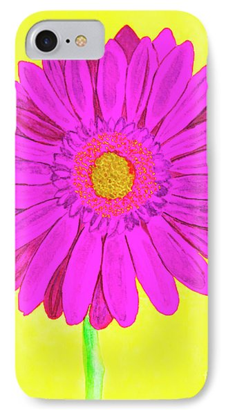 Pink Gerbera On Yellow, Watercolor IPhone Case