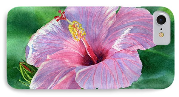 Pink Hibiscus Flower With Leafy Background IPhone Case