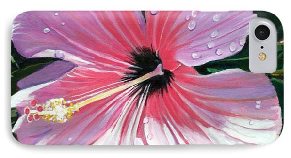 Pink Hibiscus With Raindrops IPhone Case by Marionette Taboniar
