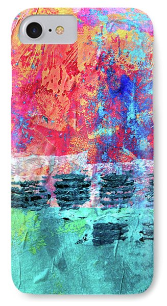 IPhone Case featuring the painting Pink Horizon by Nancy Merkle