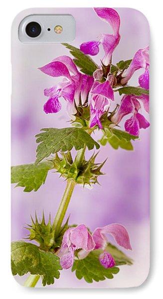 Pink Lamium Macro  Phone Case by Sandra Foster