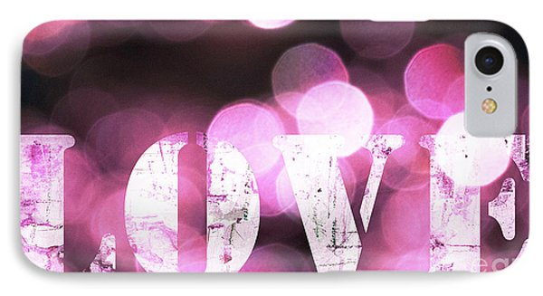 Pink Light Love IPhone Case by WALL ART and HOME DECOR