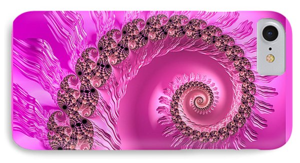 Pink Girly Spiral - Luxe Fractal Art IPhone Case by Matthias Hauser