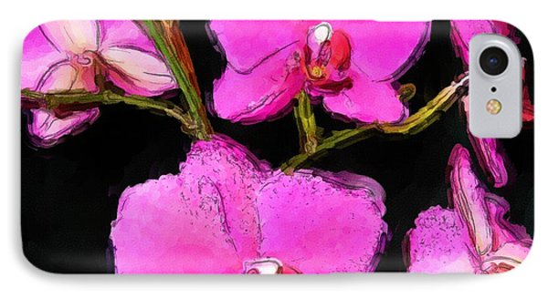Pink Orchids Phone Case by Dennis Lundell