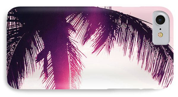 IPhone Case featuring the photograph Pink Palm Tree Silhouettes Kihei Tropical Nights by Sharon Mau
