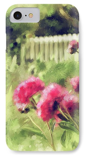 Pink Peonies In A Vintage Garden IPhone Case by Lois Bryan