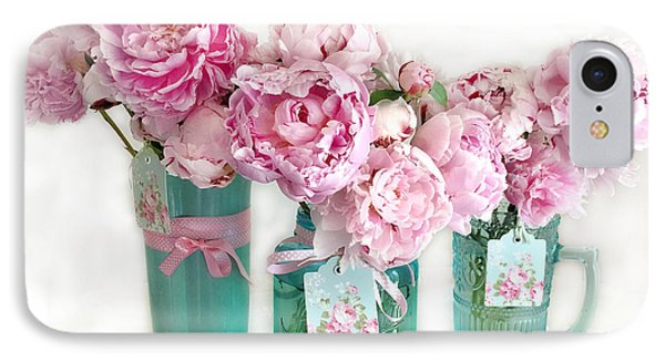 Pink Peonies In Aqua Vases Romantic Watercolor Print - Pink Peony Home Decor Wall Art IPhone Case by Kathy Fornal