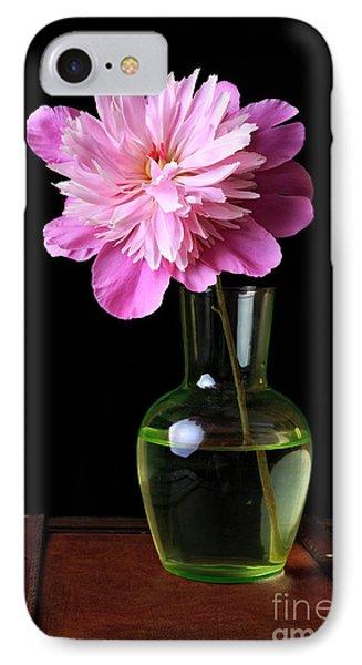 Pink Peony Flower In Vase IPhone Case by Edward Fielding