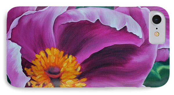 IPhone Case featuring the painting Pink Peony by Jindra Noewi