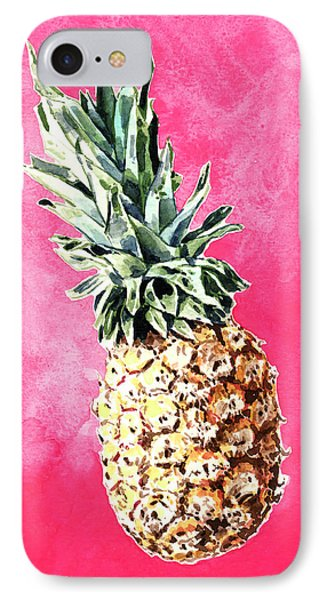 Pink Pineapple Bright Fruit Still Life Healthy Living Yoga Inspiration Tropical Island Kawaii Cute IPhone 7 Case