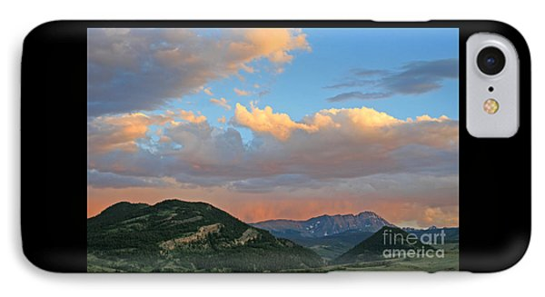 Pink Rain Over The Sleeping Indian IPhone Case by Paula Guttilla