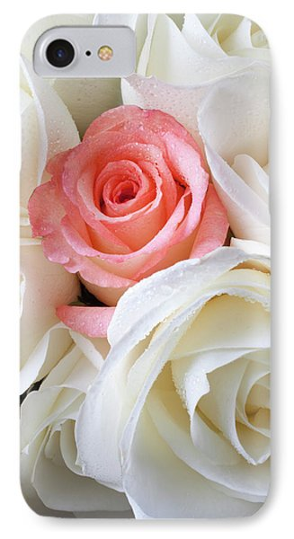 Pink Rose Among White Roses IPhone Case by Garry Gay