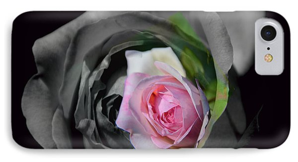 Pink Rose Shades Of Grey IPhone Case by Elaine Hunter