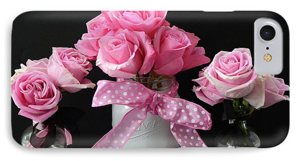 IPhone Case featuring the photograph Pink Roses French Decor - Pink And Black Parisian Wall Art - Pink Roses French Home Decor by Kathy Fornal