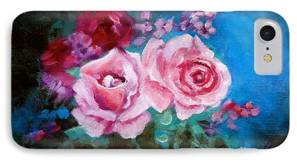 Pink Roses On Blue IPhone Case by Jenny Lee