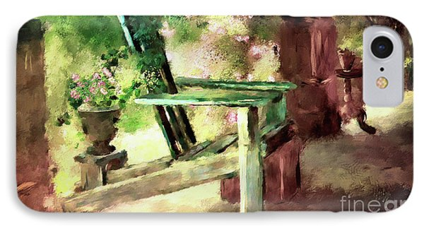Pink Roses On The Porch IPhone Case by Lois Bryan