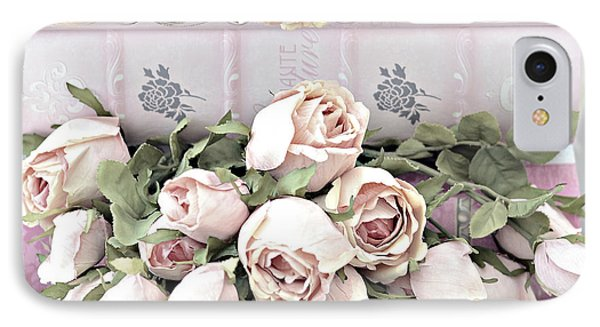 IPhone Case featuring the photograph Pink Shabby Chic Roses On Pink Cottage Books - Shabby Cottage Pink Roses Home Decor by Kathy Fornal