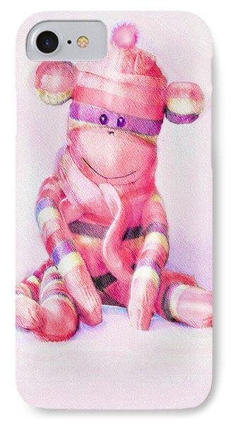 IPhone Case featuring the digital art Pink Sock Monkey by Jane Schnetlage