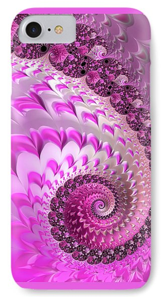 Pink Spiral With Lovely Hearts IPhone Case by Matthias Hauser