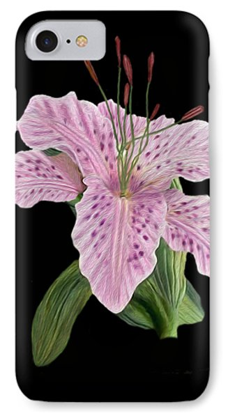 Pink Tiger Lily Blossom IPhone Case by Walter Colvin