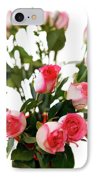 Pink Trimmed Roses Phone Case by Marilyn Hunt