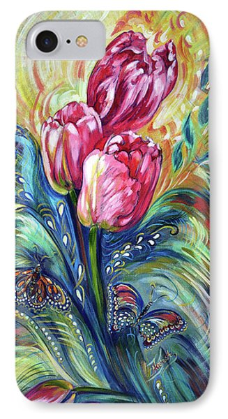 Pink Tulips And Butterflies IPhone Case
